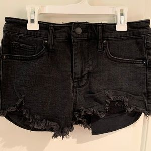 MOSSIMO Black Denim High Rise Distressed Shorts